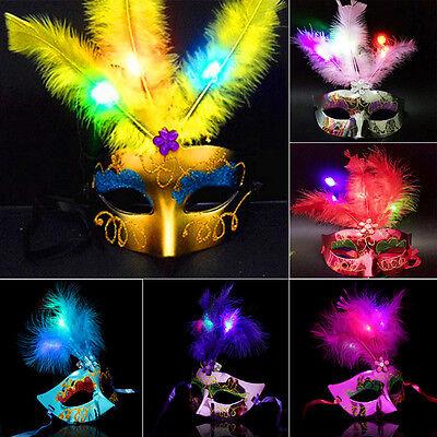 Tinksky Feather Maske Mardi Gras Maskerade Maske Party Feder LED Masken (Maskerade Feather Masken)