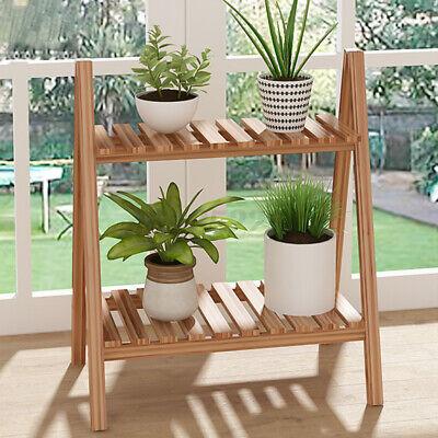 2 Tier Wooden Flower Pot Plant Stand Storage Display Rack Shelf Indoor Outdoo