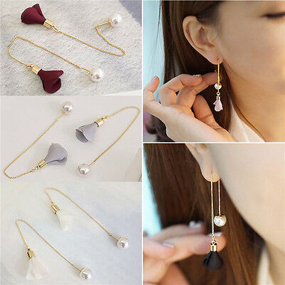 June Birthstone Flower - Newly Women Gold Silver Plated Crystal Flower Drop Long Dangle Chain Earrings