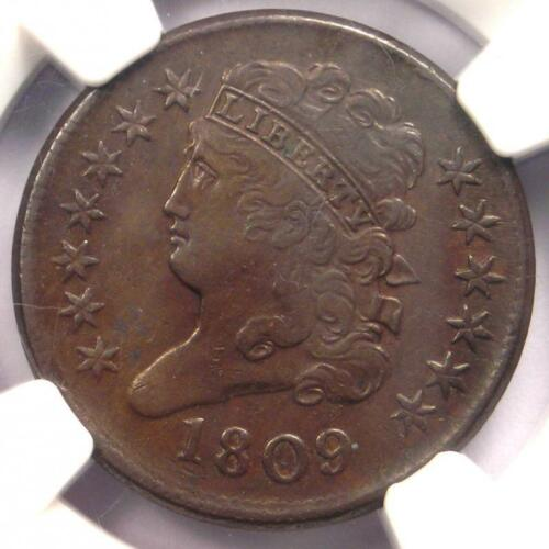 1809 Classic Head Half Cent 1/2C - NGC AU Details - Rare Certified Coin!