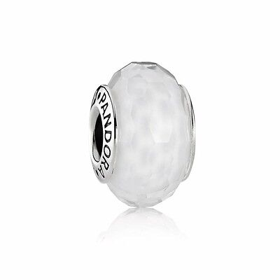 Pandora Murano Glass Charm White Faceted  Bead Silver S925 ALE 791070 New