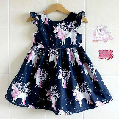 Baby Unicorn Costume (US Stock Infant Kid Girl floral Unicorn printed Casual Dresses One-Piece)