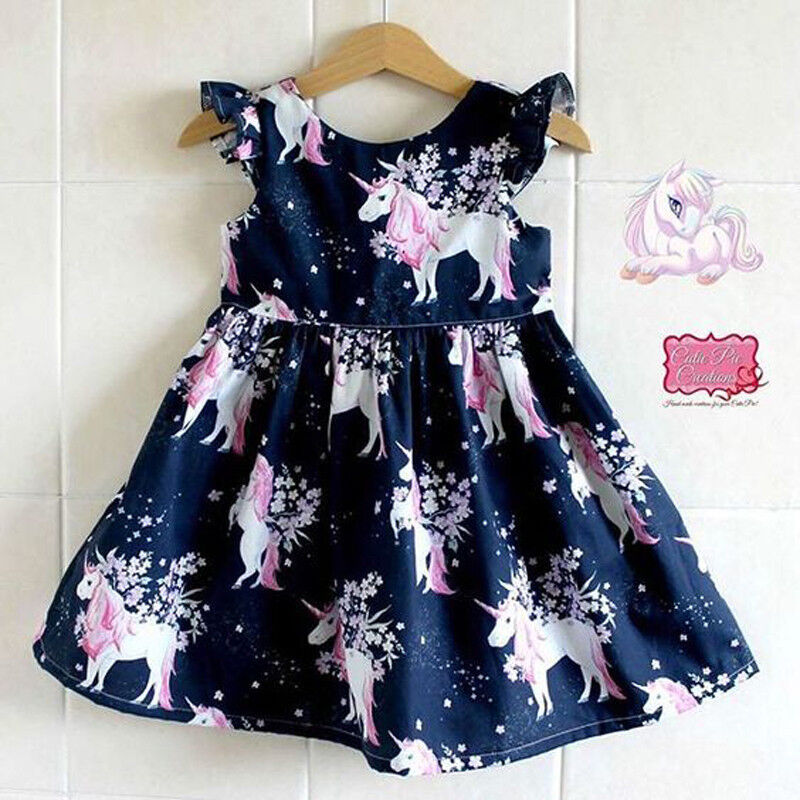US Stock Infant Kid Girl floral Unicorn printed Casual Dresses One-Piece Costume