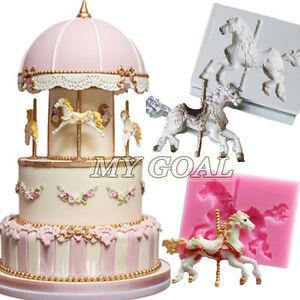 Carousel Horse Silicone Fondant Cake Molds Chocolate Baking Sugarcraft Ice Mould