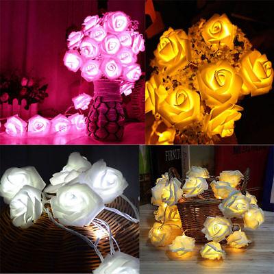 20 LED Rose Flower Wedding Party Xmas Battery Operated String Fairy Light - Led Rose