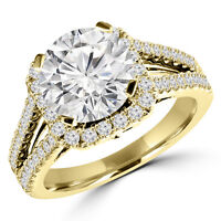 Yellow Gold Diamond Engagement Ring 1.60CTW Bague de Fiançailles