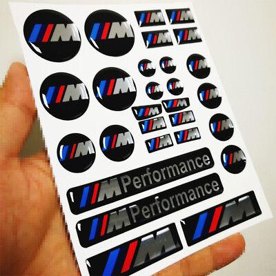 26 Ps Set Decal M Performance Badge Interior Button Wheel Sticker Emblem For BMW