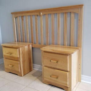 Wood Double/Full Size headboard + Set of 2 Wood Night Stands