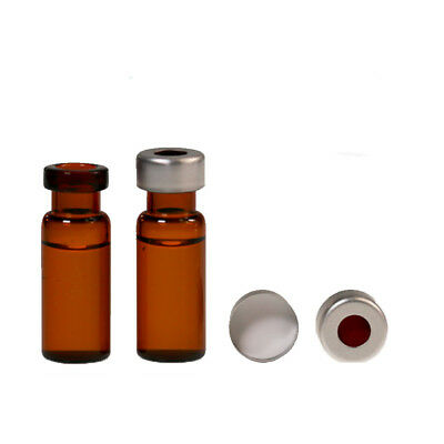 2ml Amber Glass Vial Sample Vialscap Flip Top Aluminum Crimp Seal Set Of 100pcs