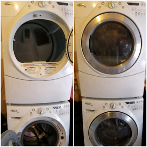 White whirlpool duet washer and steam dryer(gas)