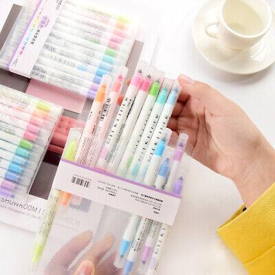 12x Double Headed Fluorescent Pen Drawing Highlighter Marker Pen School Supplies