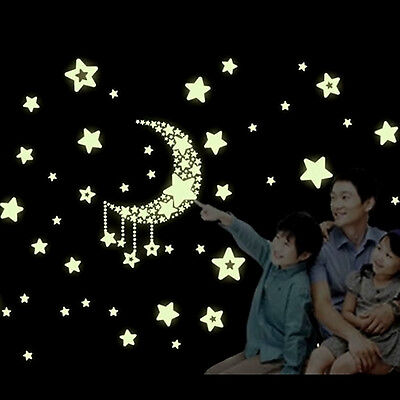 Glow Wall Stickers Luminescent Moon Stars Home ...