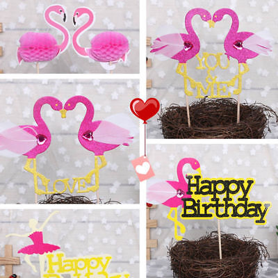 Glitter Tribal party Cupcake Toppers Flamingo Birthday decor wedding cup topper ()