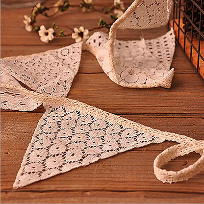 White Lace Cotton Fabric Handmade Vintage Triangle Bunting Banner  - Fabric Bunting Banner