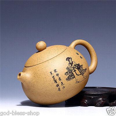 12.8oz xishi pot beauty print marked tea pot real yixing zisha duan clay pots