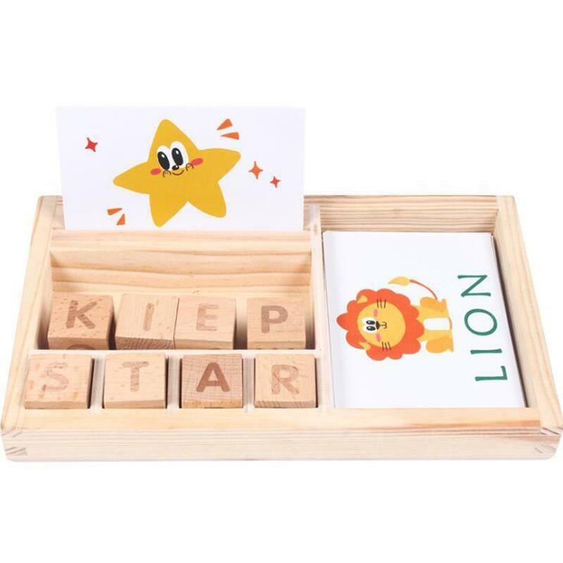 Montessori+Puzzle+Toy+Baby+Cognitive+Card+Cartoon+Wooden+English+Teaching+Aids