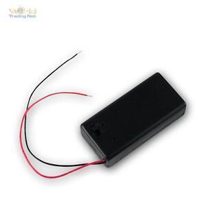 Batteriehalter für 9V-Block im Gehäuse mit Ein-Aus Schalter, Batteriefach 9 V