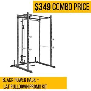 Black Power Rack + Lat Pulldown Promo Kit - COMBO PRICE
