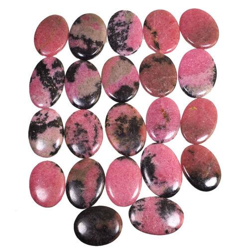 22 Pcs Natural Rhodonite 31mm-36.5mm Beautiful Cabochon Gemstones Wholesale Lot