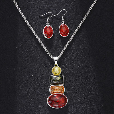 18K VintageRetro Stone Silver Plated Sets Amber Necklace Earrings Wedding Sets Amber Silver Plated Necklace