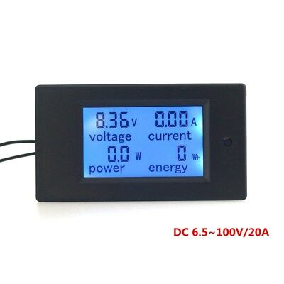 Dc 6.5100v 20a Digital Lcd Volt Amp Power Energy Meter Module V A Watt Kwh Test