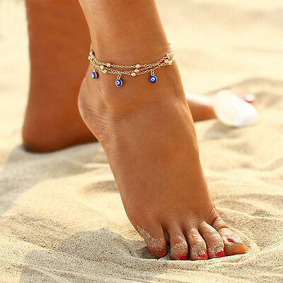 Fashion Jewelry 925 Silver Or Gold Plated Turkish Evil Eye Beads Anklet 40-4 ()