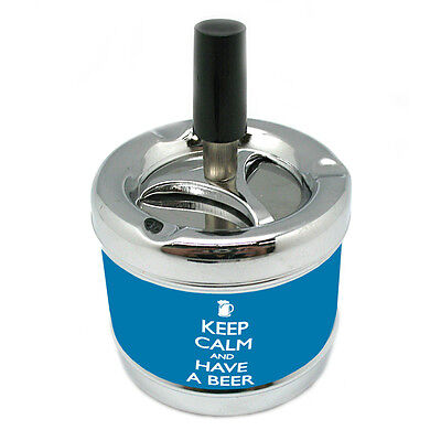 KEEP CALM AND HAVE A BEER Stylish Designer Spin Ashtray D-006 ()