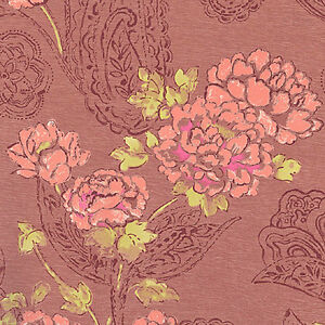 Cotton-100-Satin-weave-Bedding-Covering-Oriental-Antique-Chic-Flower-Pink-44w