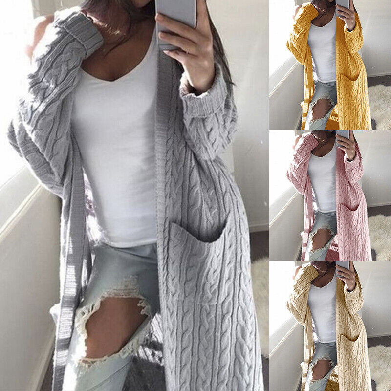 Womens Winter Long Sweater Coat Chunky Knitted Oversized Loose Outwear Cardigan