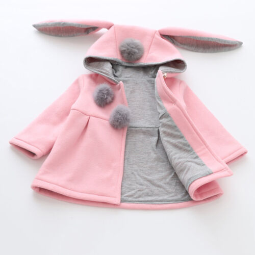 Toddler Kids Bunny Hooded Outwear Winter Jacket Tops