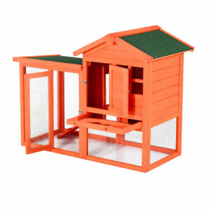 "48"" Wooden Rabbit Hutch w/Ladder and Outdoor Run - Orange"