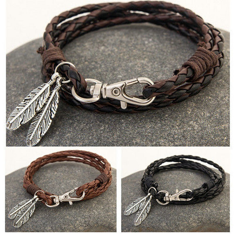 Vintage Leather Men Women Leaf Cuff Wristband Bracelet Bangl