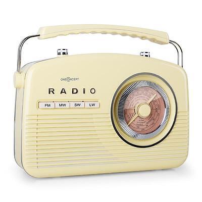 1950's Vintage Portable Fm Radio Sound System Retro Cream Yellow *Free P&p Uk