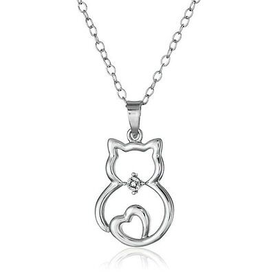 Silver Crystal Clear Birthstone Cat Pendant Choker Necklace 18
