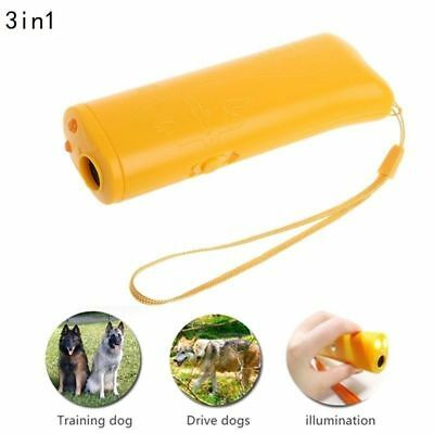 3 in 1 Pet Dog Ultrasonic Repeller Trainer LED Anti Barking Device Flashlight