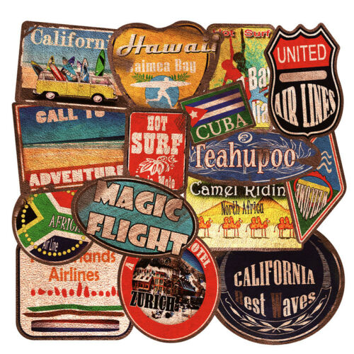 36x Beach Vintage Travel Surfing Stickers Luggage Suitcase Laptop Car Decal Pack