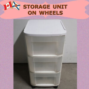 WHITE UTILITY STORAGE UNIT ON HEAVY DUTY CASTERS