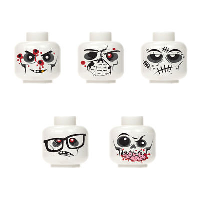 New Custom halloween monster zombie walking dead minifigure head white 5pc set 2