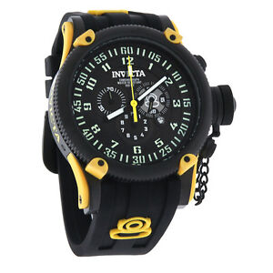 Invicta Russian Diver Mens Black Swiss Chronograph Quartz Rubber Watch 10181