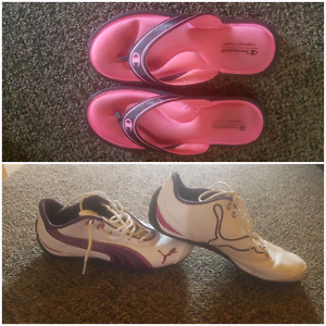 Puma and Champion memory foam sandals  (neon pink)