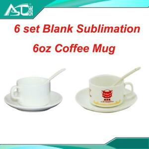 6sets 6oz Coffee Mug With Plate and Spoon Heating Transfer Sublimation DIY Blank Cup Gifts Craft#001438