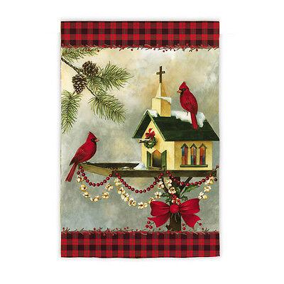 Winter Christmas In the Garden Church bird feeder Cardinals Pines Small Flag