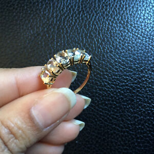 Brand New 10K  yellow Gold Ring Size 6-7 with White Sapphire