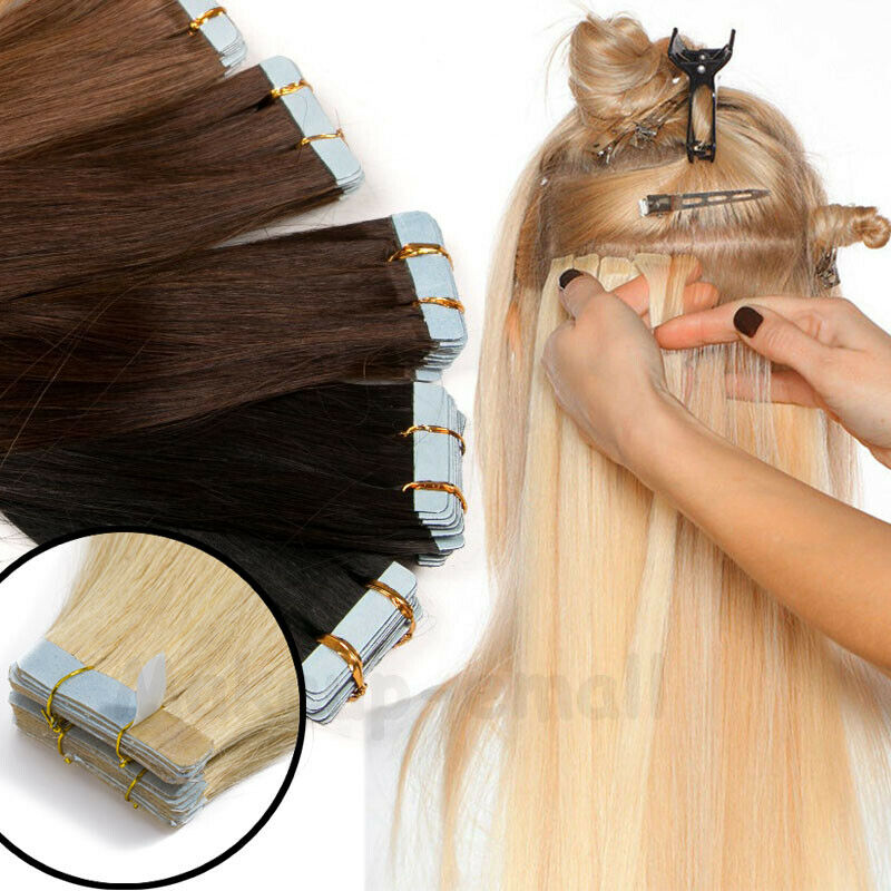 Tape In 100% Remy Echthaar Extensions Indisches Haarverlängerung Tressen Glatt