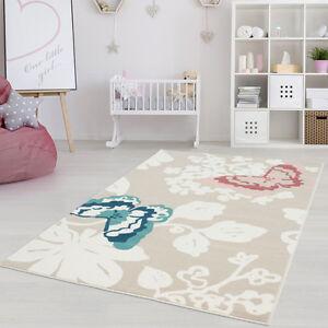 Butterflies Cream Area Rug,Living Room,Bedroom,Kids Room