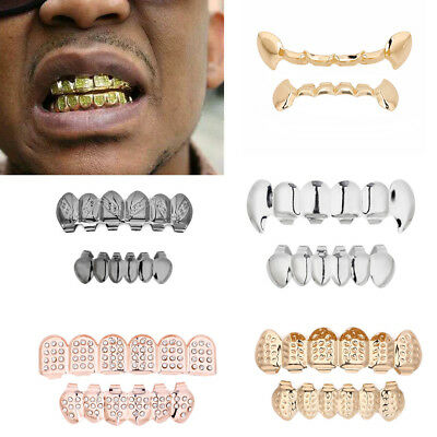 Hip Hop Teeth Grillz Top Top Bottom  Iced Out Grill Tooth Cap Mold vampire Kit](Vampire Teeth Caps)