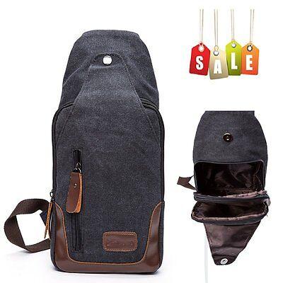 Canvas Sling Bag Men's Chest Shoulder Hiking Bicycle Bag Backpack Purse Black