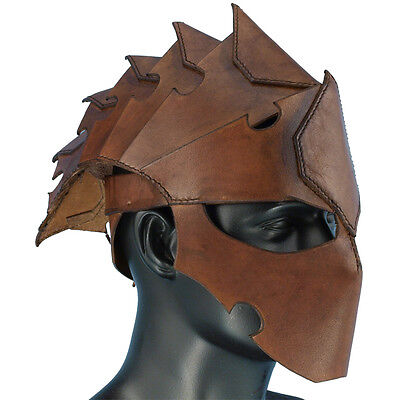 Leather Assassin Helmet - Armour - Perfect For Re-enactment or LARP ##