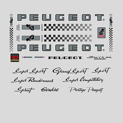Stickers Transfers Peugeot PY//PX10 Bicycle Decals Set 543 Orange//Black