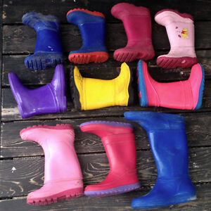 LOTS of used kids rubber boots size 10, 11,12,13,1, 2, 3